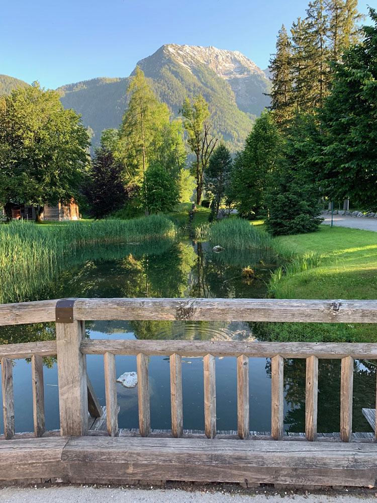 Teich mit Ausblick auf die Berge im Gasthaus Grubhof